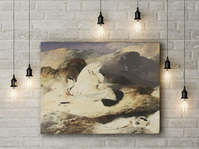 Sir Edwin Landseer: Ptarmigan in a Landscape . Fine Art Canvas.